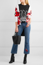 Strawberry Cowbody cropped embroidered high-rise bootcut jeans