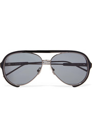 + Linda Farrow aviator-style acetate and metal sunglasses