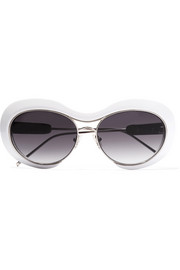 + Linda Farrow round-frame acetate and silver-tone sunglasses