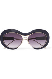 + Linda Farrow round-frame acetate and gold-tone sunglasses