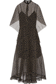 Leather-trimmed polka-dot silk-organza maxi dress