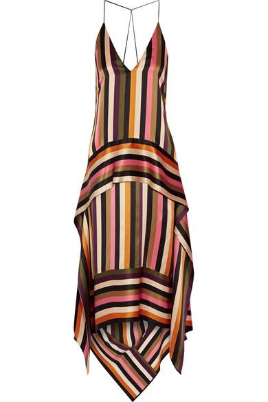 Petar Petrov - Asymmetric Striped Silk-satin Midi Dress - Black