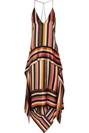 Asymmetric striped silk-satin midi dress