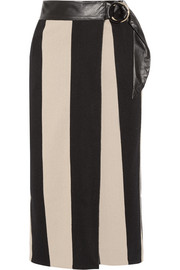 Leather-trimmed striped cotton-burlap wrap midi skirt