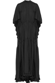 Petar Petrov Leather-trimmed silk-jacquard maxi dress