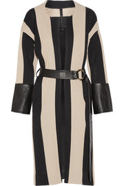 Petar Petrov Leather-trimmed striped cotton-burlap coat