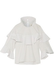 Ruffled checked cotton-poplin top