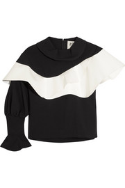 Ruffled faux leather-trimmed crepe top