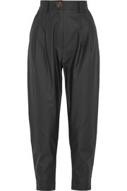 Coated cotton tapered pants