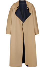 Oversized reversible cotton-canvas coat