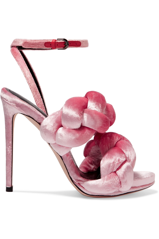 Pink Braided velvet sandals | Marco De