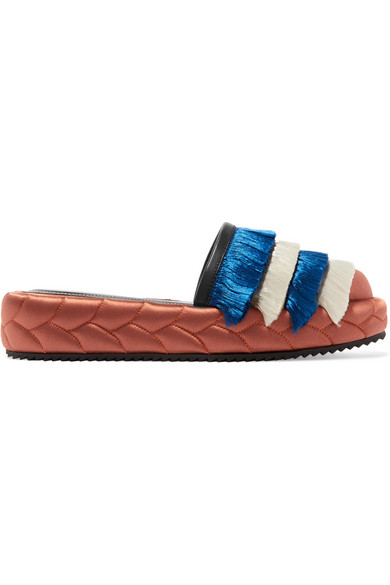 Marco De Vincenzo - Leather-trimmed Fringed Satin Slippers - Copper