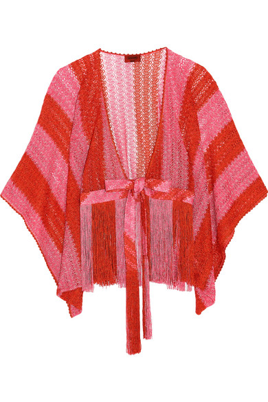 Missoni - Mare Fringed Metallic Crochet-knit Kimono - Bubblegum