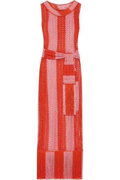 Missoni - Mare Fringed Metallic Crochet-knit Maxi Dress - Pink