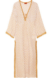 Mare lace-up metallic cotton-blend kaftan