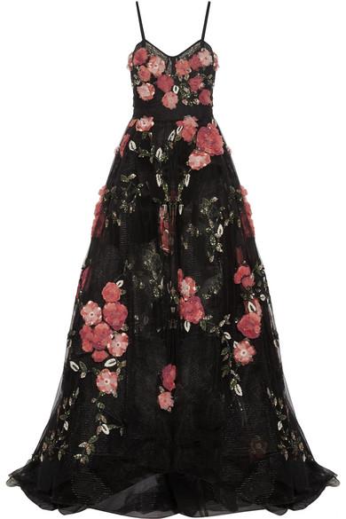 Marchesa - Embellished Appliquéd Tulle Gown - Black