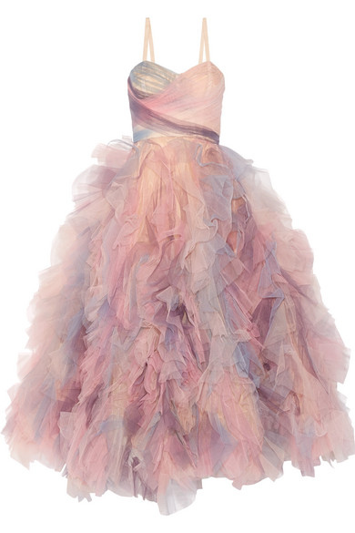 Marchesa - Ruffled Tulle Gown - Pastel pink