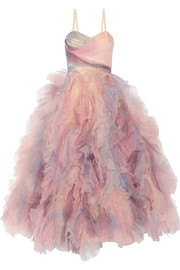 Marchesa Ruffled tulle gown