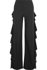 Sara Battaglia Ruffled cady wide-leg pants