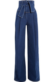 Sara Battaglia Belted high-rise wide-leg jeans