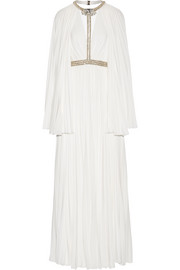 Jenny Packham Cape-effect embellished plissé crepe de chine gown