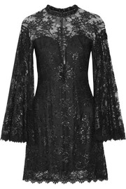 Jenny Packham Embellished metallic lace mini dress