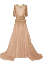Jenny Packham Bead and sequin-embellished tulle gown