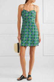 Matthew Williamson Pompom-embellished printed silk crepe de chine dress