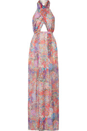 Matthew Williamson Printed silk-chiffon halterneck gown