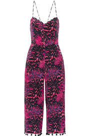 Matthew Williamson Pompom-trimmed printed silk crepe de chine jumpsuit