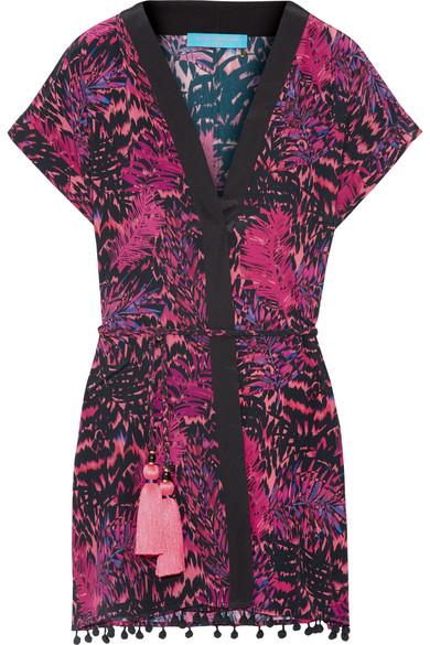 Matthew Williamson - Pompom-trimmed Printed Silk Crepe De Chine Kimono - Magenta