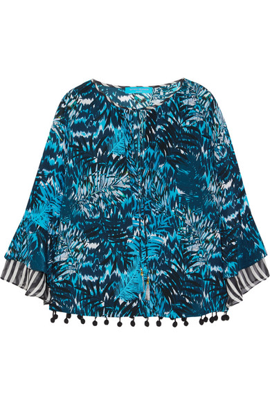 Matthew Williamson - Pompom-embellished Printed Silk Crepe De Chine Top - Petrol
