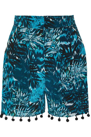 Matthew Williamson - Pompom-embellished Printed Silk Crepe De Chine Shorts - Petrol