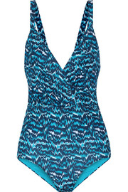 Wrap-effect cutout printed swimsuit