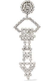 Saint Laurent Silver-plated crystal clip earring