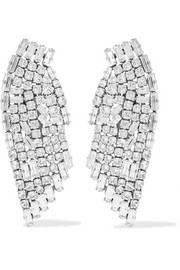 Saint Laurent Silver-plated crystal clip earrings