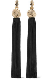 Saint Laurent LouLou gold-plated tassel clip earrings