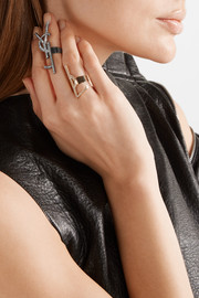 Saint Laurent Set of two gold and gunmetal-tone crystal rings