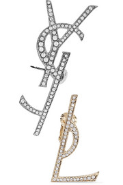 Saint Laurent Gold and gunmetal-tone Swarovski crystal clip earrings