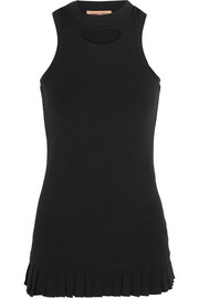 The Loyal Friend pleated cutout organic cotton-jersey tank