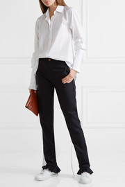 Don't Frill With Me ruffle-trimmed pinstriped wool skinny pants