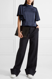 The Restrained ruffled silk-satin top