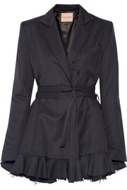 Maggie Marilyn Give Me Strength ruffle-trimmed pinstriped wool blazer