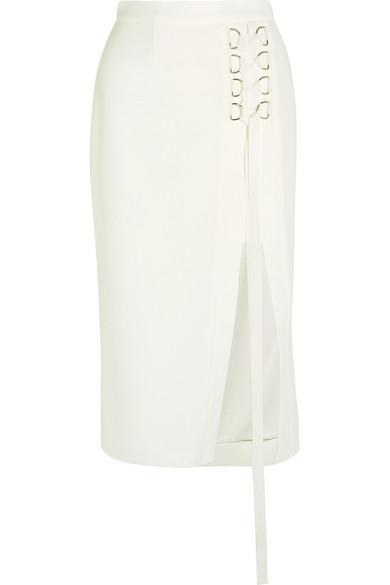 Billie lace-up crepe skirt