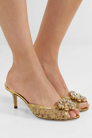 Dolce & Gabbana Crystal-embellished metallic corded lace mules