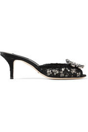 Dolce & Gabbana Crystal-embellished corded lace mules