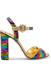 Crystal-embellished sequined metallic leather sandals