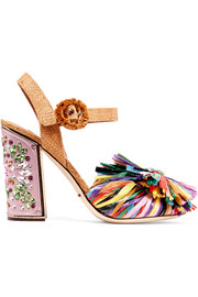 Crystal-embellished raffia sandals