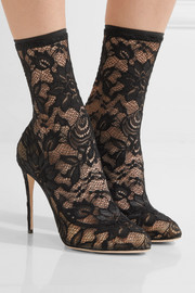 Dolce & Gabbana Stretch-lace and tulle ankle boots