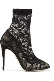 Stretch-lace and tulle ankle boots